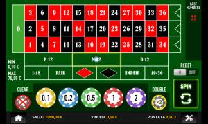 Il tavolo della roulette nella versione mobile