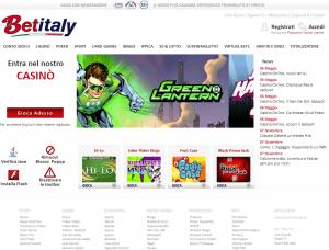La homepage di Betitaly casinò