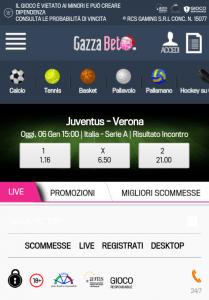 La schermata principale della versione mobile mostra un evento evidenziate da GazzaBet