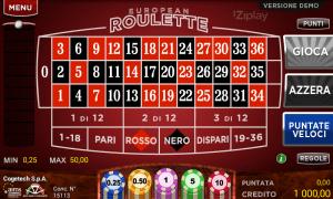 Il gioco della roulette nell'applicazione casinò