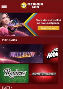 Versione mobile del Merkur Win