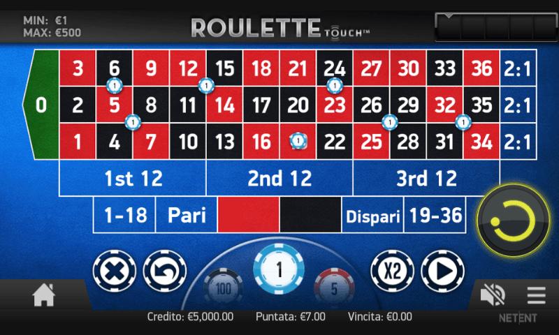 Roulette nella versione mobile del sito