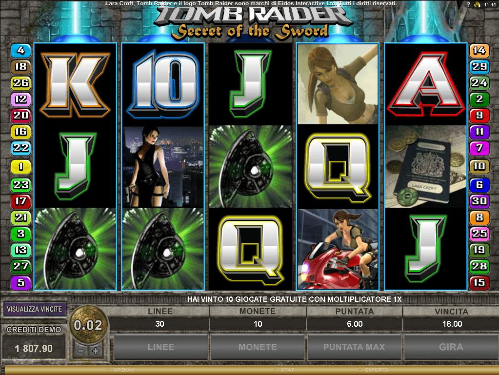 Tomb Raider Secret of the Sword giri regolari con scatter i simbolo bonus