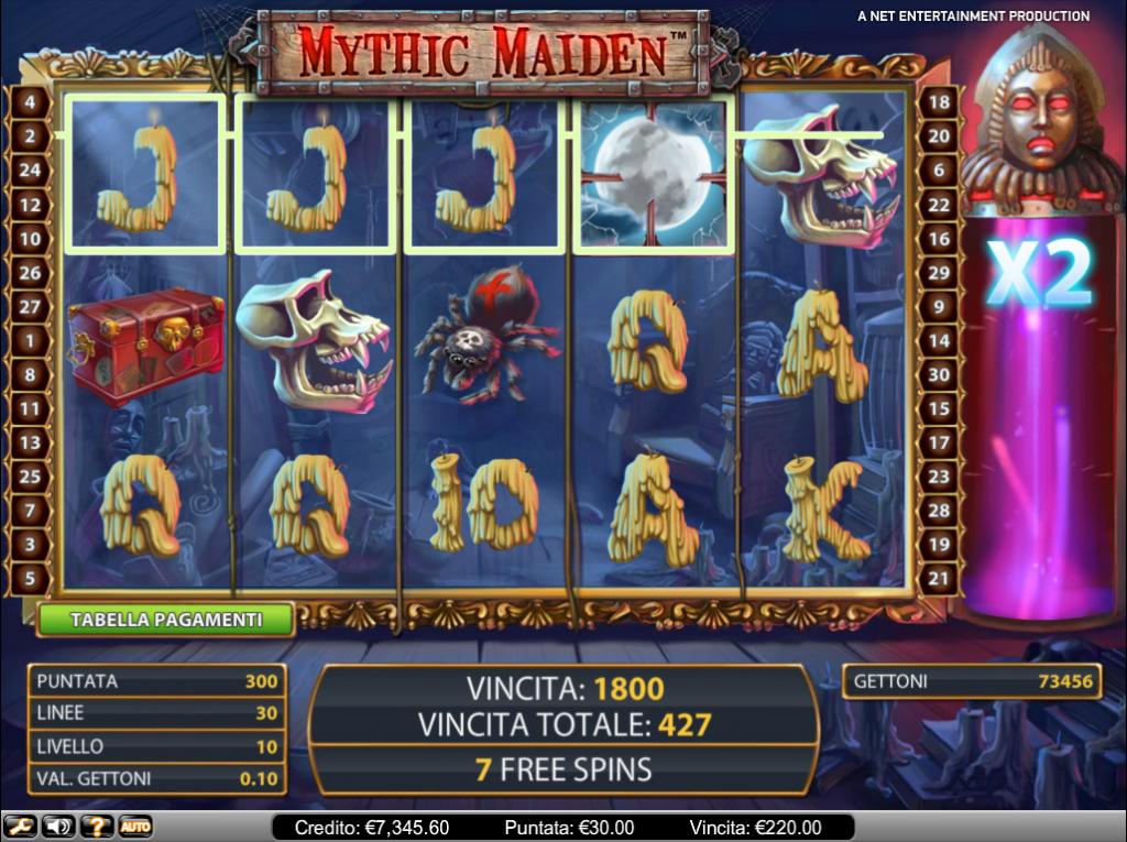 Giri gratis con moltiplicatore a Mythic Maiden