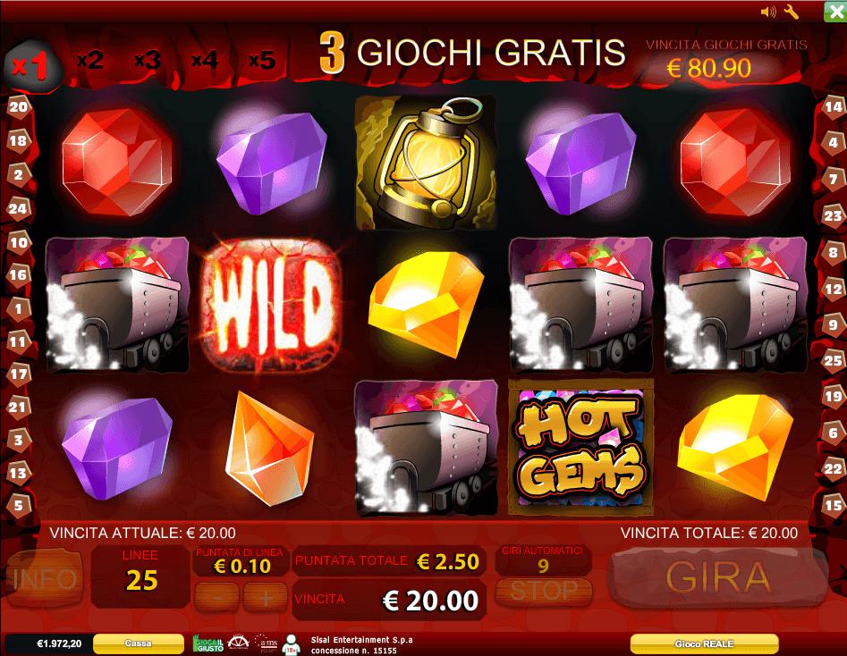 Hot Gems giri gratuiti con Collapsing Reels