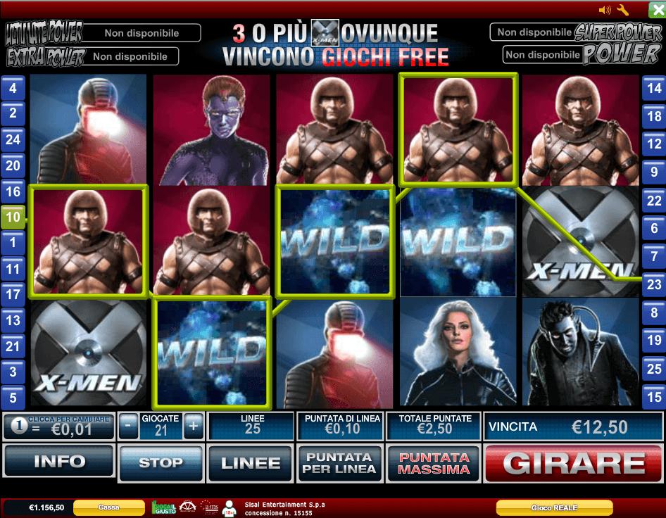 X-Men giri regolari con simboli Wild e scatter
