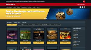 La pagina iniziale con le 3 principali categorie di gioco e i primi 5 giochi