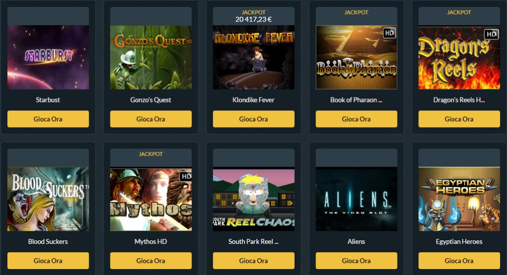 I giochi più popolari possono essere trovati in quasi tutti i casinò online, anche in questo