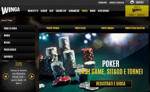 La pagina principale del sito di poker che è stato ridisegnato nel 2016